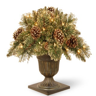 "24"" Glittery Gold Pine Porch Bush with Clear Lights"