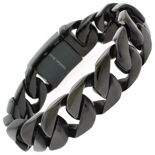 Black Stainless Steel Men's Thick 8.5-inch Cuban Bracelet