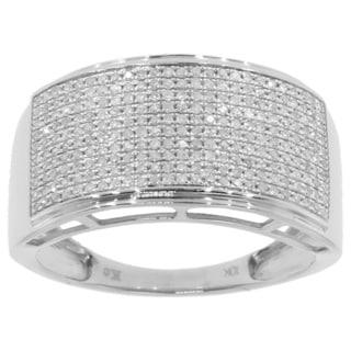 14k White Gold Men's 3/5ct TDW Diamond Ring