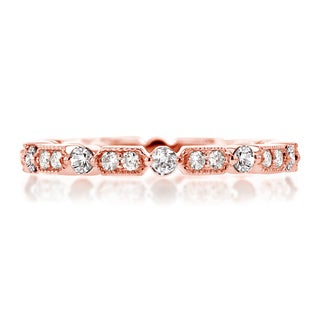 Annello by Kobelli 14k Rose Gold 1/2ct TDW Diamond Milgrain Pattern Eternity Ring