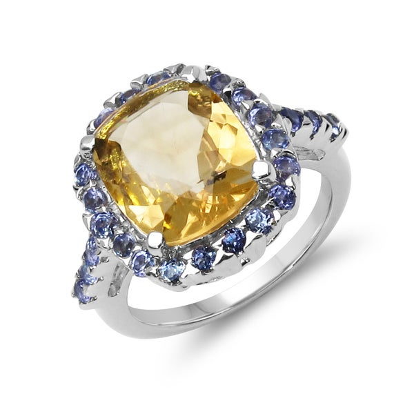 Olivia Leone .925 Sterling Silver 4.91 Carat Genuine Citrine & Tanzanite Ring