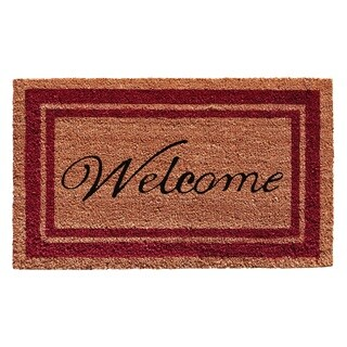 Burgundy Border Welcome Doormat (1'6 x 2'6)