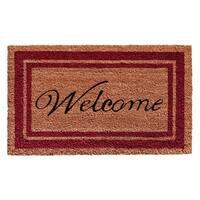 Burgundy Border Welcome Doormat (1'6 x 2'6)