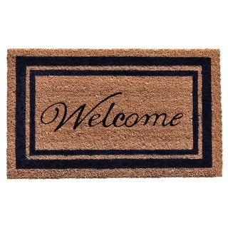 Dark Blue Border Welcome Doormat (1'6 x 2'6)