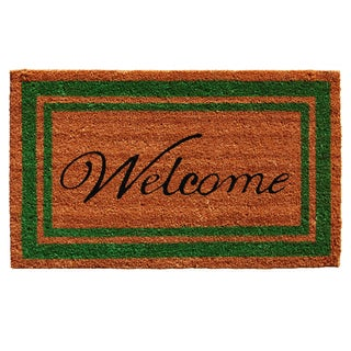 Green Border Welcome Doormat (1'6 x 2'6)