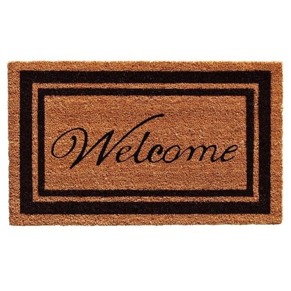 Black Border Welcome Doormat (2' x 3')