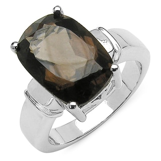 Olivia Leone .925 Sterling Silver 5.48 Carat Genuine Smoky Topaz Ring