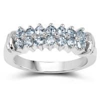 Olivia Leone .925 Sterling Silver 0.84 Carat Genuine Aquamarine Ring