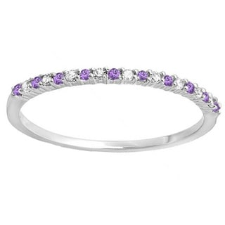 14k Gold 1/ 6ct TDW Round Amethyst and White Diamond Stackable Anniversary Wedding Ring (I-J, I2-I3, I1-I2)