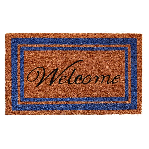 Blue Border Welcome Doormat (2' x 3')