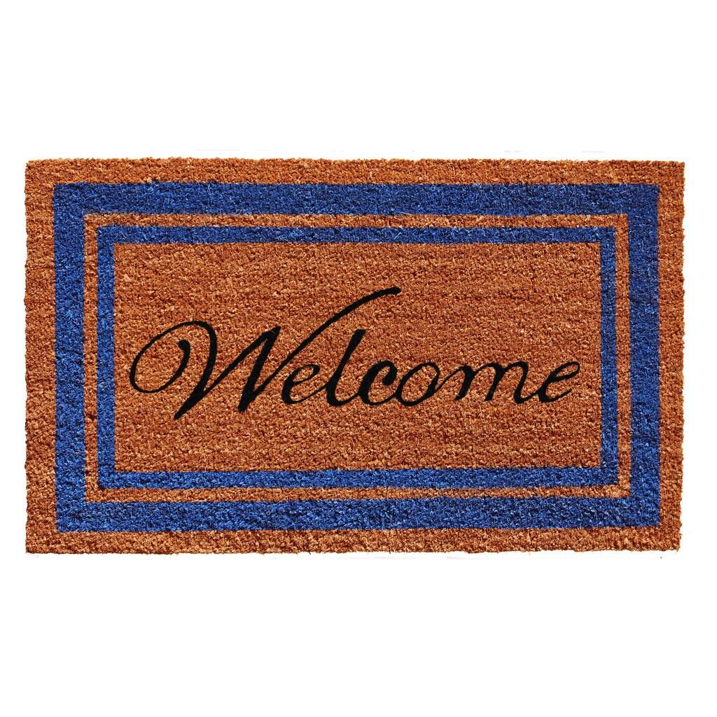 Blue Border Welcome Doormat (2' x 3') (Blue Border Welcome (2' x 3'))