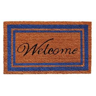 Blue Border Welcome Doormat (2' x 3')