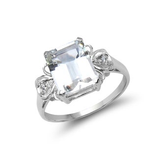 Malaika .925 Sterling Silver 3.39 Carat Genuine Crystal Quartz & White Topaz Ring
