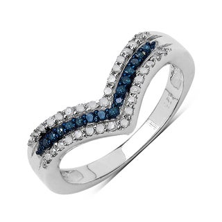 Malaika .925 Sterling Silver 0.27 Carat Genuine Blue & White Diamond Ring