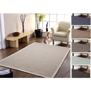 Eco-Friendly Handmade Natural Fiber Chevron Rug with Border (3'x 5') - 3' x 5'