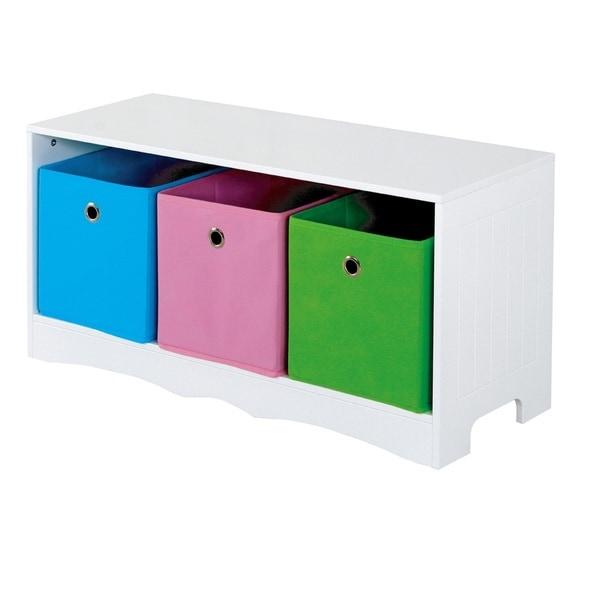 Home Basics Kids Storage Bench With 3 Bins White Free