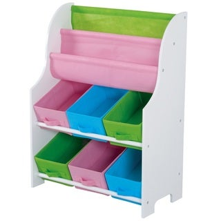 Home Basics Kids Toy Organizer with 6 Bins and 2 Book Shelves, White
