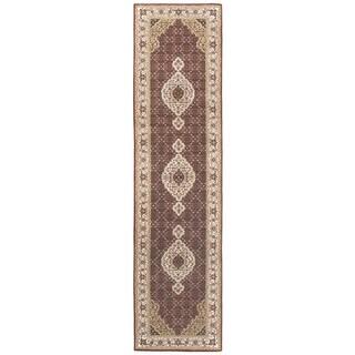Ecarpetgallery Tabriz Haj Jalili Beige/ Red Wool/ Silk Area Rug (2'7 x 10'1)