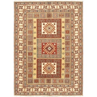 Ecarpetgallery Royal Kazak Brown/ Yellow Wool Area Rug (5'7 x 7'7)