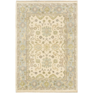 Ecarpetgallery Royal Ushak Beige/ Blue Wool Area Rug (4'1 x 5'11)