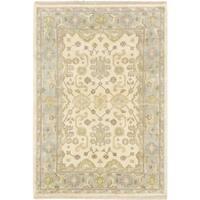 Ecarpetgallery Royal Ushak Beige/ Blue Wool Area Rug (4'1 x 5'11)