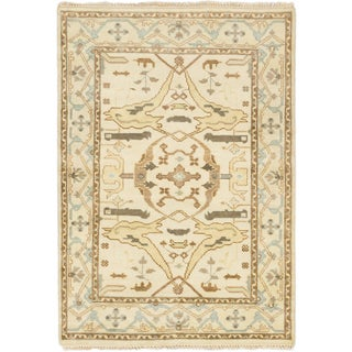 Ecarpetgallery Royal Ushak Beige Wool Area Rug (4'1 x 5'10)