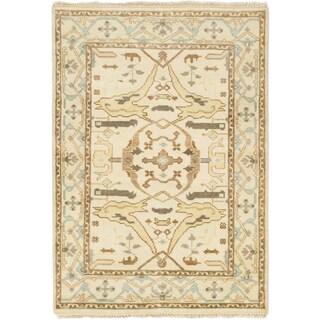 Ecarpetgallery Royal Ushak Beige Wool Area Rug - 4'1 x 5'10