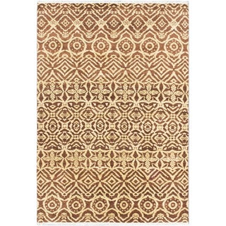 Ecarpetgallery Finest Ushak Beige/ Brown Wool Area Rug (6' x 8')