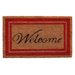 Red Border Welcome Doormat (2' x 3')