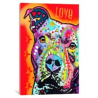 iCanvas Thoughtful Pit Bull by Dean Russo Canvas Print