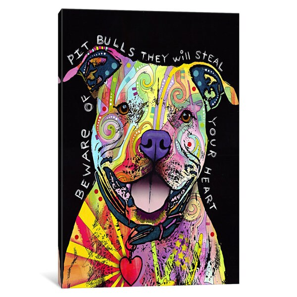 iCanvas Beware of Pit Bulls by Dean Russo Canvas Print