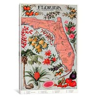 iCanvas State Map of Florida (Natural Resources) - Vintage Poster by Unknown Artist Canvas Print