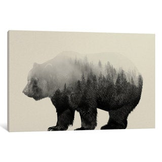 iCanvas Bear in the Mist by Andreas Lie Canvas Print