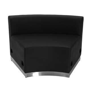 Hercules Alon Series Leather Concave Chair with Brushed Stainless Steel Base