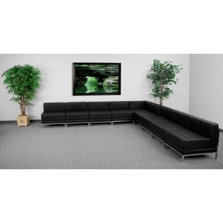 "Leather Recep Sectional, 9 PC - 140.5""W x 28.75"" - 140.5""D x 27.5""H"