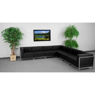 Hercules Imagination Series 7-piece Black Leather Sectional Configuration