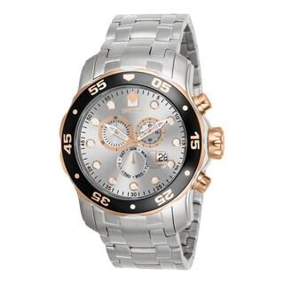Invicta Men's 80037 Pro Diver Quartz Chronograph Silver Dial Watch