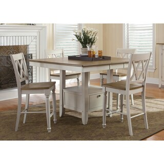 Fresco Two-Tone Transitional 54x54 Gathering Table - Antique White