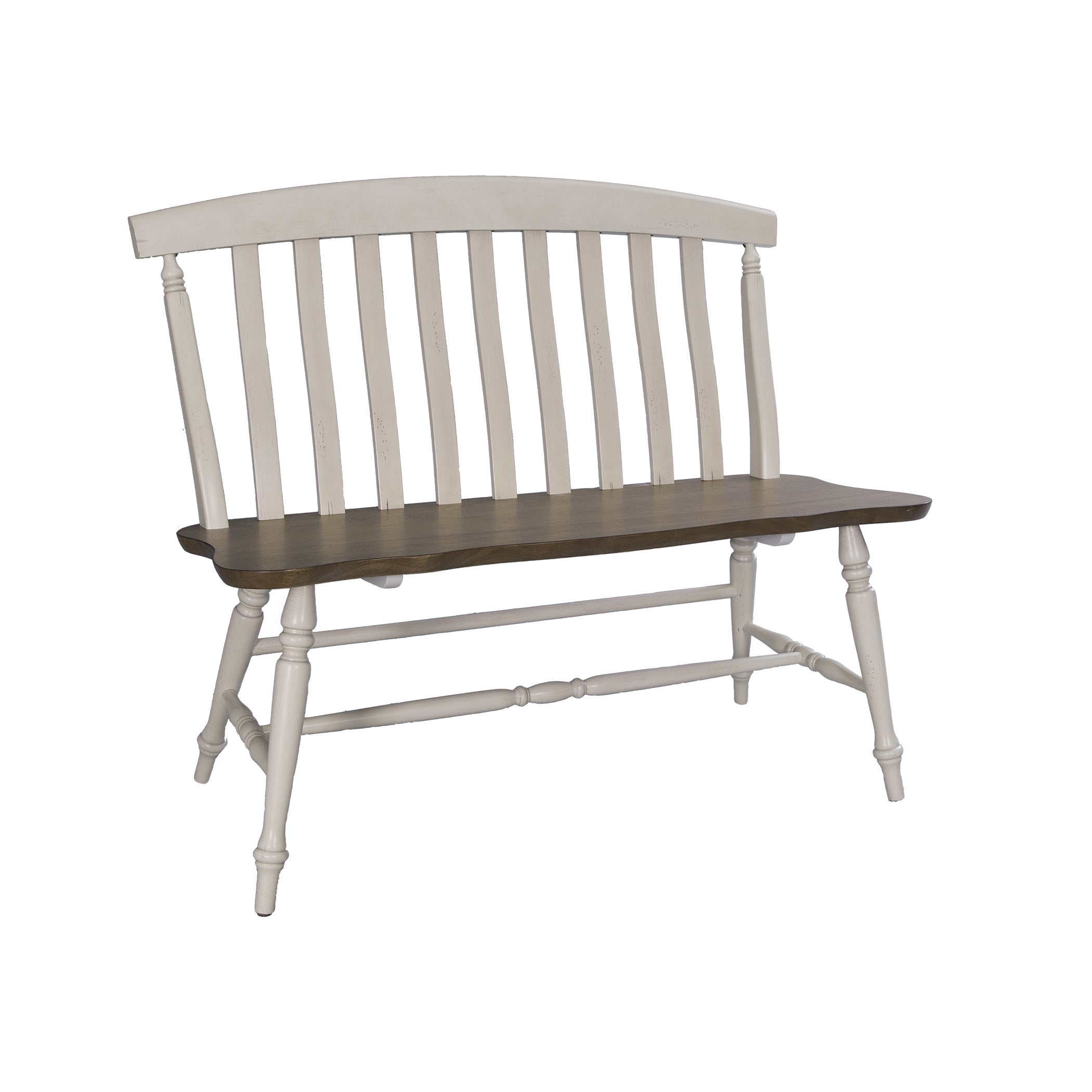 Superb Fresco Two Tone Transitional Slat Back Dining Bench Squirreltailoven Fun Painted Chair Ideas Images Squirreltailovenorg