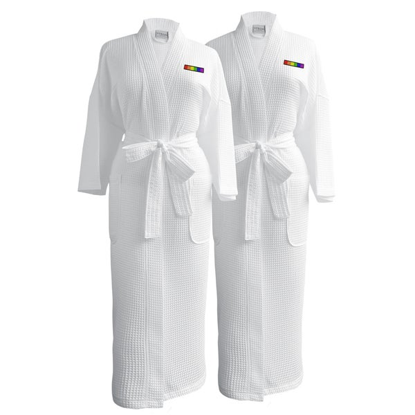 Conrad Egyptian Cotton LGBT Pride Waffle Spa Robe - Flag (Set of Two; Female)