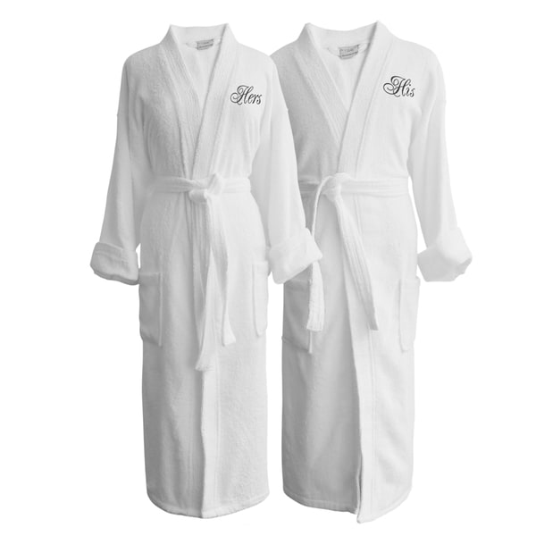 shop wyndham egyptian cotton his and hers terry spa robe set free shipping today overstock. Black Bedroom Furniture Sets. Home Design Ideas