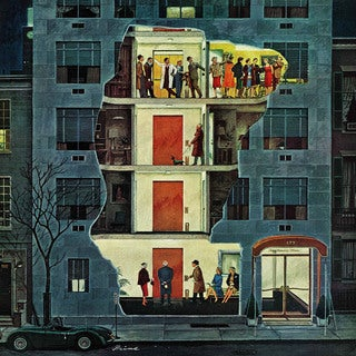 Marmont Hill - Party Holding Up the Elevator by Ben Kimberly Prins Painting Print on Canvas