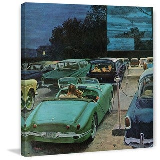 "Marmont Hill - ""Drive-In Movies"" by George Hughes Painting Print on Canvas - Multi-color"