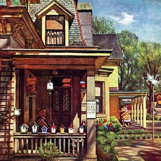 Marmont Hill - Birdhouse Builder by John Falter Painting Print on Canvas