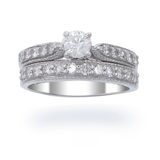 14k White Gold 1ct TDW Diamond Wedding Set