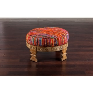 "Bristol Striped Cocktail Ottoman (30.4 x 30.4"" x 11.2)"