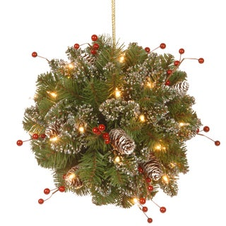 "12"" Glittery Mountain Spruce Kissing Ball with Battery Operated Warm White LED Lights"