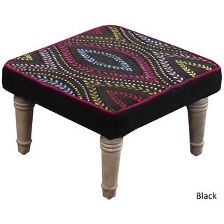 "Cambrai Floral Foot Stool (15.2 x 15.2"" x 8)"