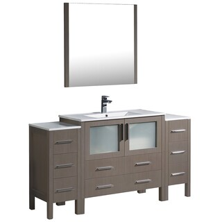 Fresca Torino 60-inch Grey Oak Modern Bathroom Vanity with Side Cabinets and Integrated Sink