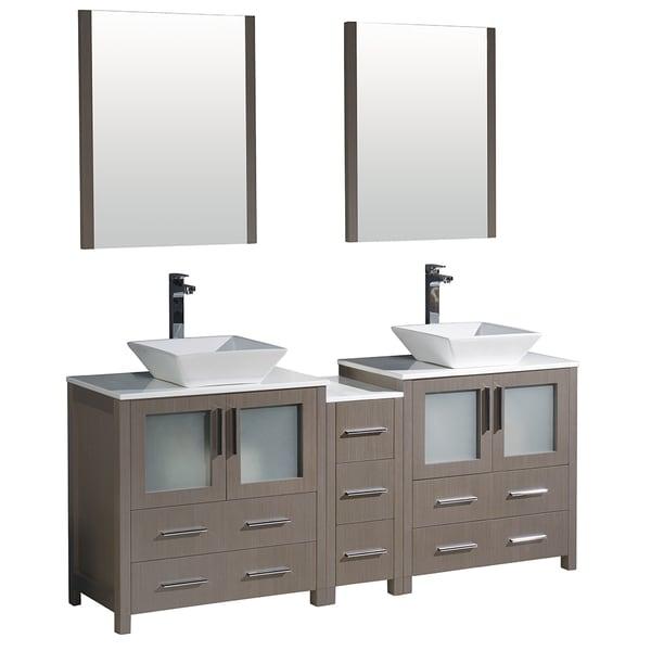Fresca Torino 72-inch Grey Oak Modern Double Sink Bathroom Vanity with Side Cabinet and Vessel Sinks. Opens flyout.